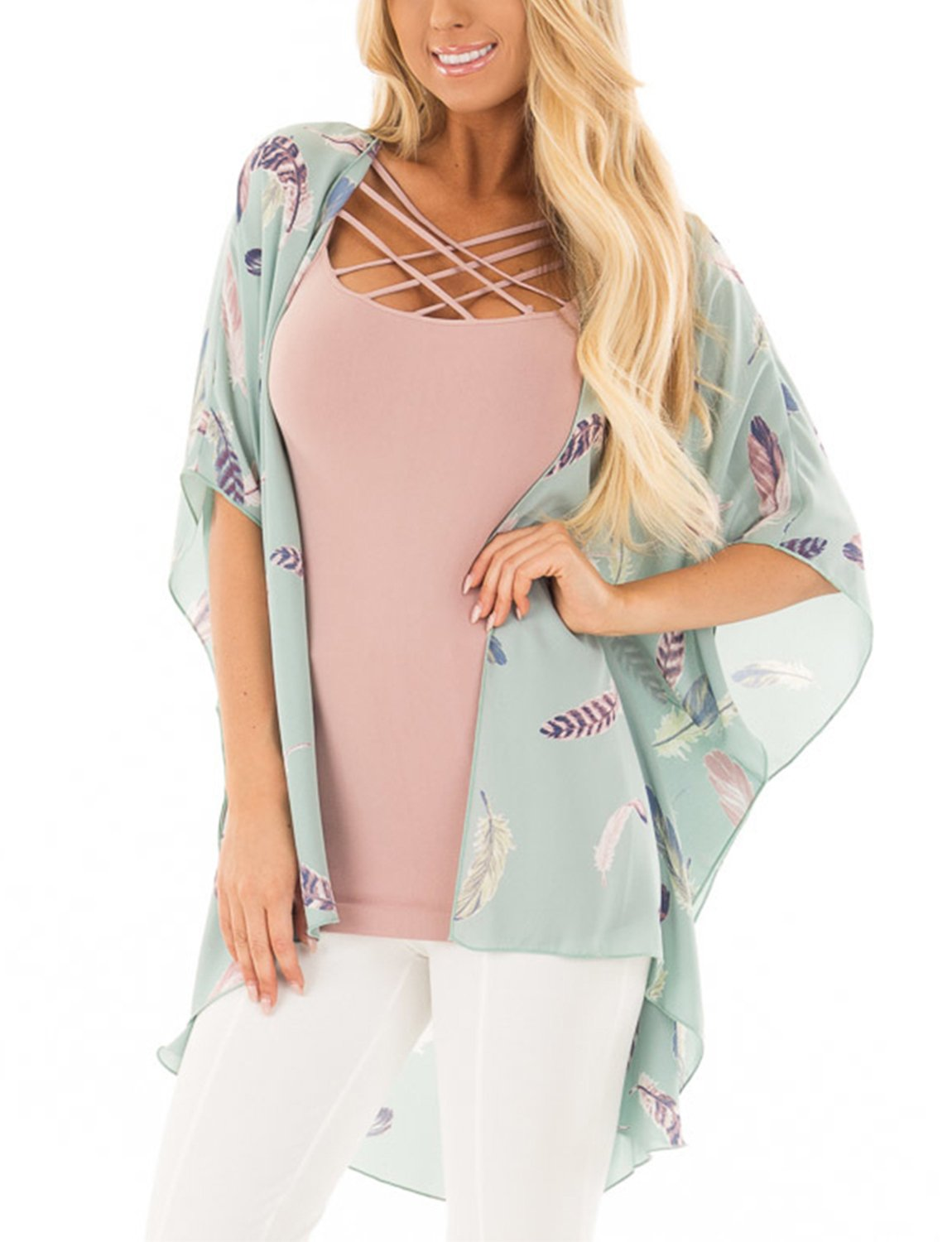 BB&KK Women Floral Kimono Cardigan Loose Half Sleeve Shawl Chiffon Casual Open Front Cover up