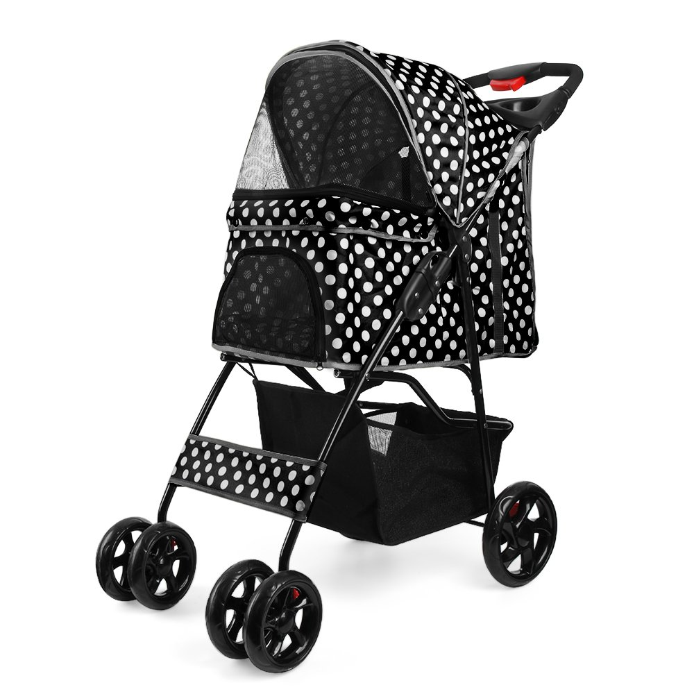 Flexzion Pet Stroller Dog Cat Small Animals Carrier Cage 4 Wheels Folding Flexible Easy Walk for Jogger Jogging Travel Up to 30 Pounds With Rain Cover Cup Holder and Mesh Window, Dot Black