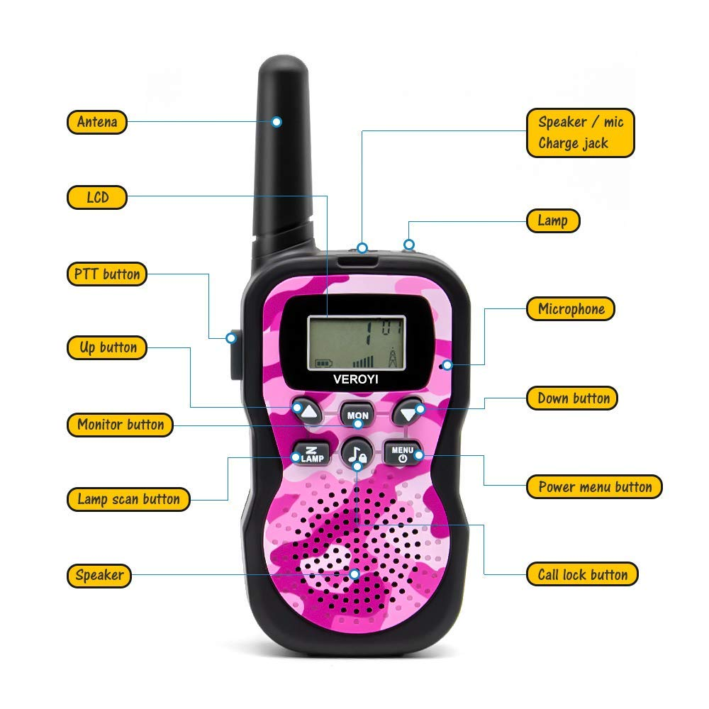 Pussan Fun Toys for 5-10 Year Old Girls Kids Walkie Talkies, 2 Miles Long Distance Walkie Talkies, Outdoor Games, Camping Gear Birthday Gift for Boys and Adlut by Pussan (Image #4)