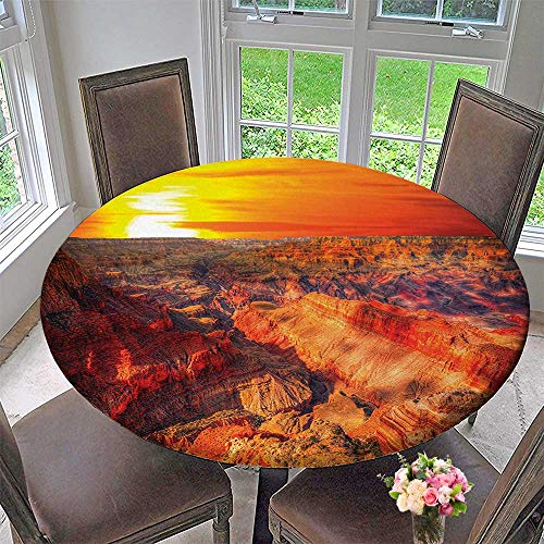 Mikihome Round Premium Table Cloth Horizon Overview Unique Grand Canyon Photo Saturated with Warm Color Effects Sunset Orange Perfect for Indoor, Outdoor 43.5