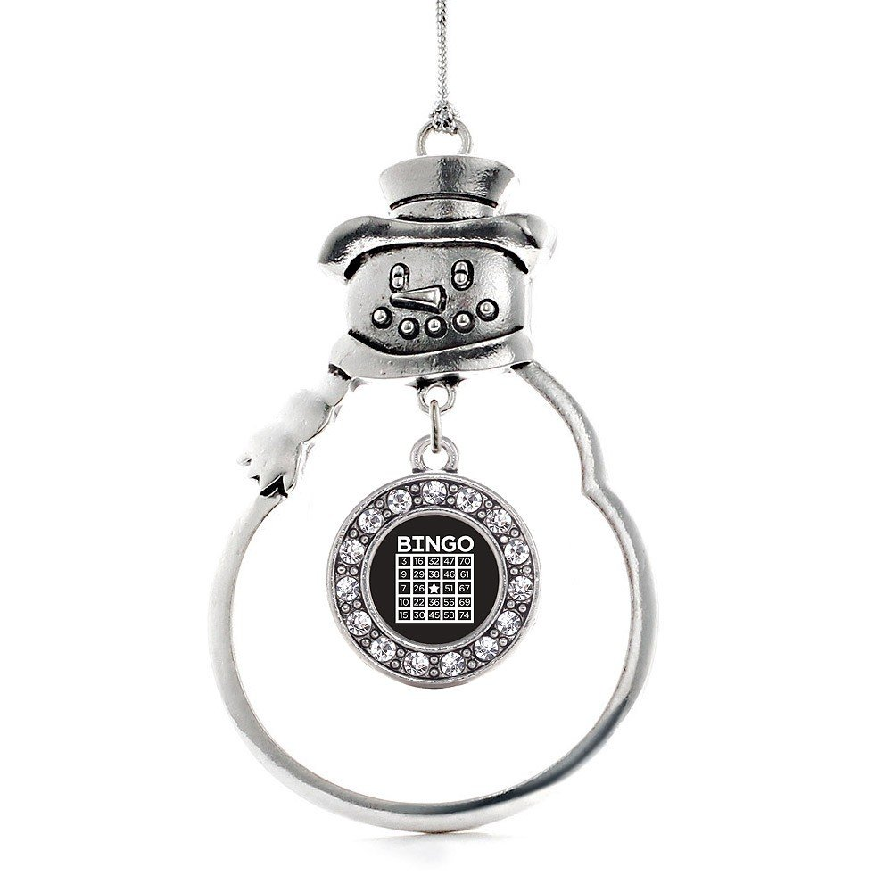 Inspired Silver Bingo Circle Snowman Holiday Decoration Christmas Tree Ornament by Inspired Silver