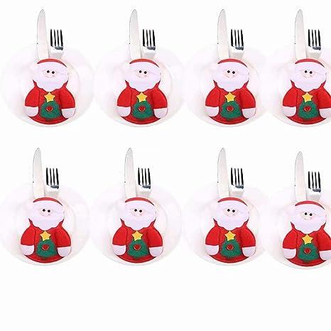 Set de fundas decorativas para cubiertos con diseño navideño, ideal para hogar, restaurante y