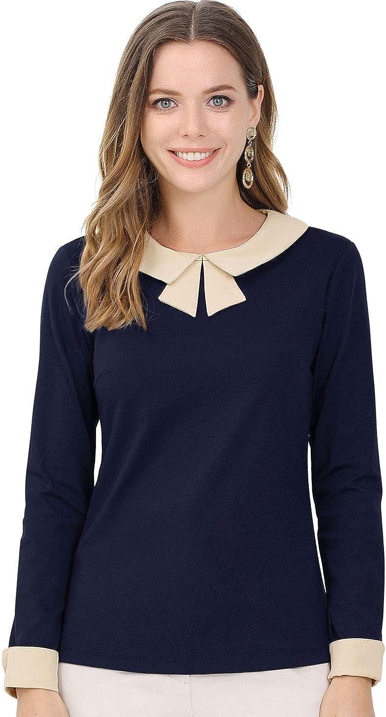 Allegra K Women's Elegant Collar Long Sleeves Work Office Blouse Top