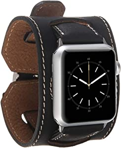 Hardiston Leather Band Compatible with Apple Watch | Handmade Genuine Leather Replacement Cuff for iWatch Series 4 (44mm) / Series 3 Series 2 Series 1 (42mm) | Arm Band | Antic Black