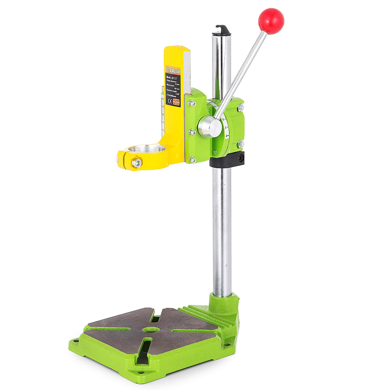 Happybuy Drill Press Stand 90 Degrees Rotary Drill Stand Holder 60mm Work Travel Repair Tool Clamp