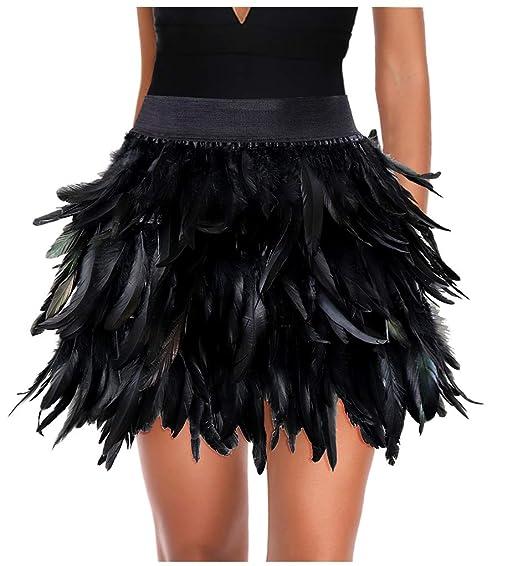 Keland Falda Minifalda Negra con Falda de Talle Medio Real con ...