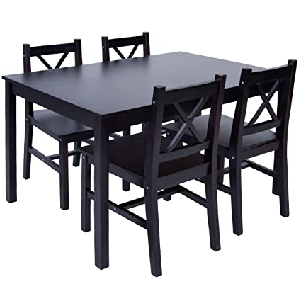 Image Unavailable Not Available For Color Merax 5 PC Solid Wood Dining Set