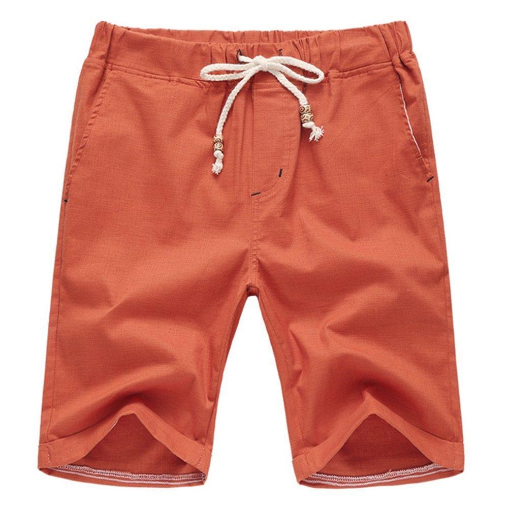 Aiyino Mens Linen Casual Classic Fit Short Summer Beach Shorts