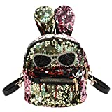Aibearty Rabbit Ears Small Backpack Sequins Rucksack Casual Bag (Colorful)