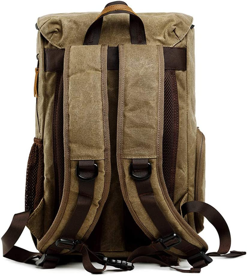 Swyss Waterproof Camera Backpack for SLR//DSLR Cameras /& 15 Laptop,Vintage Photography Backpack Canvas Bag Army Green #002