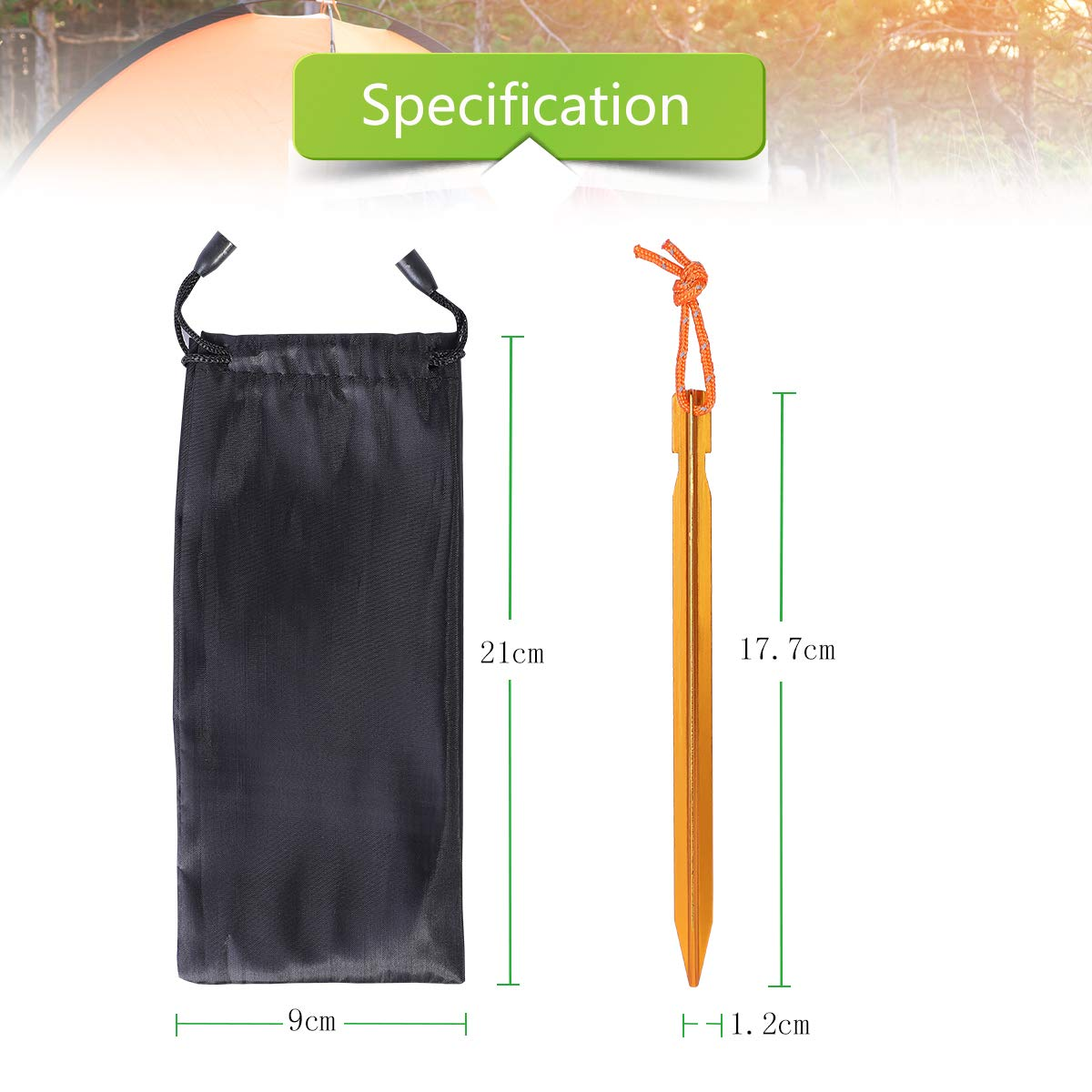 Tent Stakes,LANMU Camping Tent Pegs Stakes,Aluminum Alloy Tent Pegs with Reflective Rope,Outdoor Heavy Duty Peg Stake Kit for Camping,Rain Tarps,Beach,Hiking,Mountaineering 10 Pieces