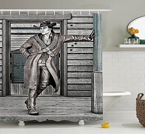 Saloon Decor Collection A Young Handsome Cowboy on an Old West Saloon Background Traditional Image Pattern Polyester Fabric Bathroom Shower Curtain Set with Hooks Dark Gray (Old West Saloon Girl Costume)