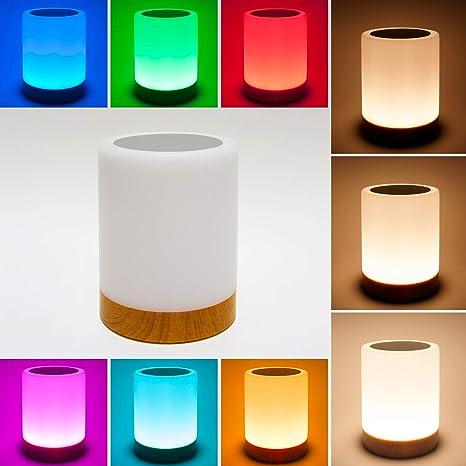 Lámpara de mesa LED. Lámpara decorativa táctil LED con luz blanca. Lámpara RGB pequeña con colores, recargable por cable USB y con diseño moderno para ...