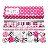 Modern Pink Wrapping Paper Set Perfect for Birthdays, Awareness, Weddings, Holidays, and More! 4 Rolls of 24'' x 8ft. Premium Gift Wrap with 3 Reversible Designs and Coordinated Accessories!