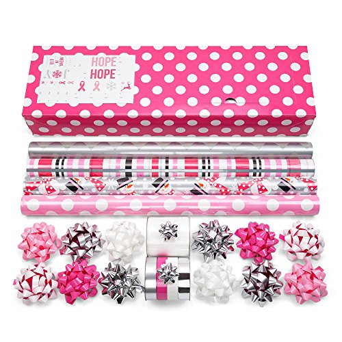 Modern Pink Wrapping Paper Set Perfect for Birthdays, Awareness, Weddings, Holidays, and More! 4 Rolls of 24