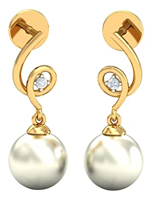 Kuberbox Yellow Gold, Diamond and Mabel Pearl stud Earrings Women