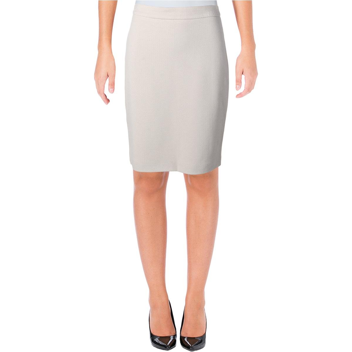 Hugo Boss BOSS Womens Herringbone Lined Pencil Skirt Tan 4 by Hugo Boss