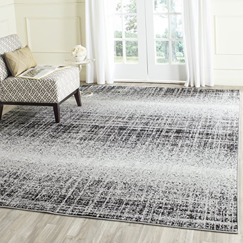 Safavieh Adirondack Collection ADR116A Silver and Black Modern Abstract Square Area Rug (6' Square) (Power Loomed Polypropylene)