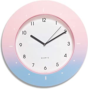 Something Unicorn - Pink Ombre Colorful Rainbow Wall Clock for Girl's and Kid's Bedroom Wall Decor. Super Cute, Non-Ticking, Battery Operated and Easy to Read. (12 inch)
