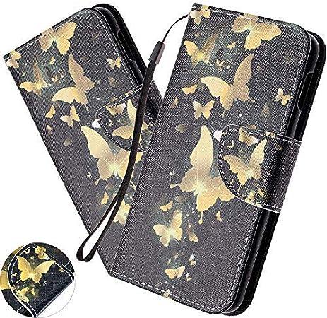 Huawei Honor 10 Lite Hülle Huawei P Smart 2019 Handyhülle Schmetterling Blume Mädchen Flip Case Pu Leder Cover Schutzhülle Tasche Ständer Handytasche Für Huawei P Smart 2019 Hx Gold Butterfly Black Baumarkt