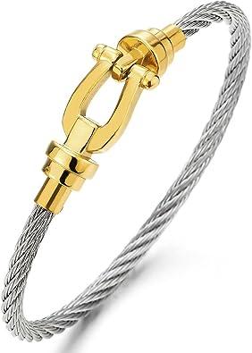 COOLSTEELANDBEYOND Grillete del Ancla Pulsera de Mujer Herren, Brazalete de Acero Inoxidable Cable, Plata Oro Dos Tonos: Amazon.es: Joyería
