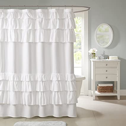 White Shabby Chic Fabric Shower Curtain Casual Romantic Ruffled Feminine