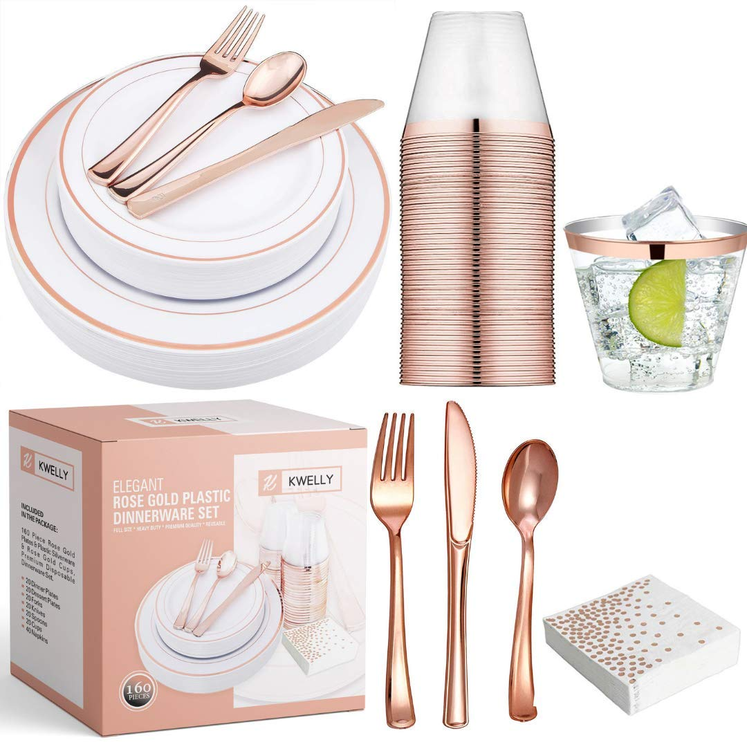 KWELLY Disposable Plastic Tableware Set | Includes Plates, Cutlery, Napkins & Cups for Dinner, Party, Bridal Shower, Birthday & Christmas | No BPA | 160 Pieces Rose Gold Fancy & Elegant Silverware by KWELLY (Image #1)