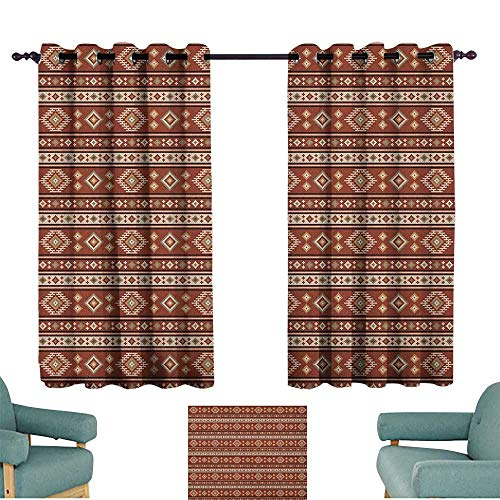 Afghan,Outdoor Curtains Timeless Rhombuses with Stripes Pattern in Earthy Colors Classical Motifs Design 52