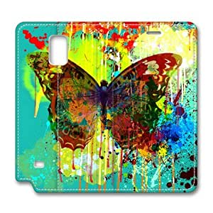 Abstract Butterfly Samsung Galaxy Note 4 Flip Leather Cover Case by Lilyshouse by runtopwell