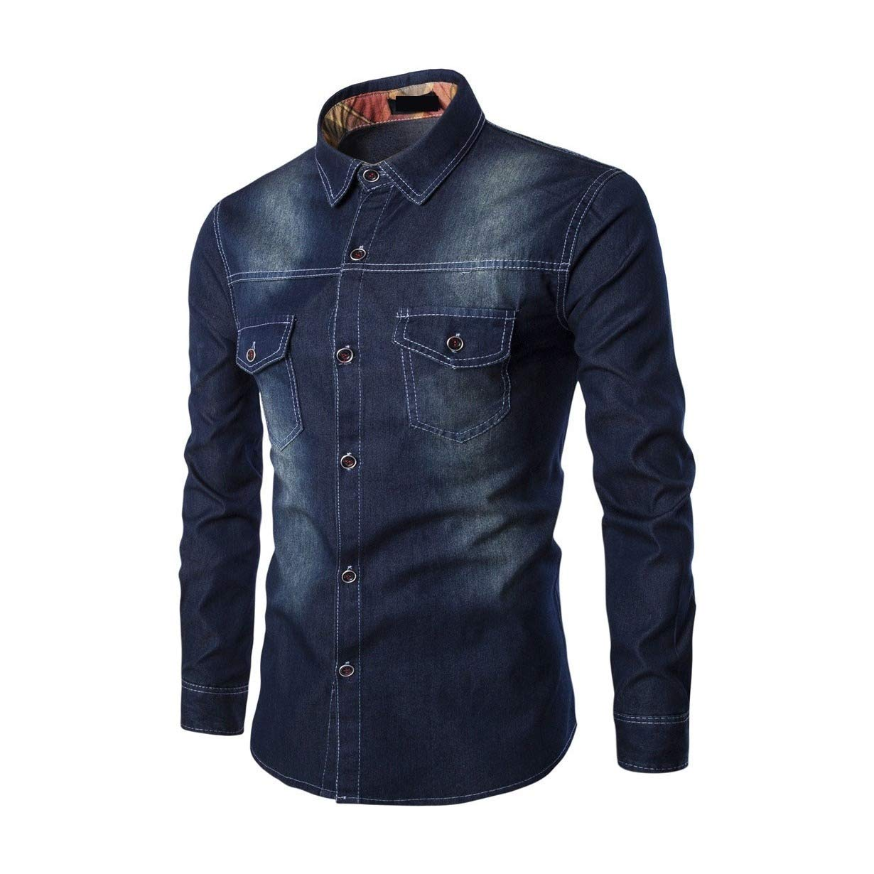 Mfasica Men Classic-Fit Long Sleeve Spring//Fall Lapel Collar Pure Color Denim Shirt