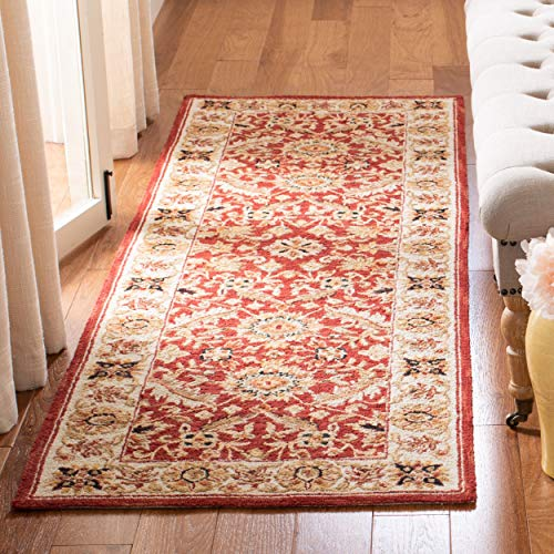 Safavieh Chelsea Collection HK157A Hand-Hooked Red and Ivory Premium Wool Runner 2 6 x 8