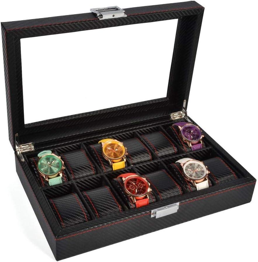 Caja de reloj Estuche de reloj con la tapa de cristal, sostenedor del reloj del reloj Con extraíbles almohadas, exhibición del reloj con forro de terciopelo, Cierre Broche, Black Box 12 ranuras
