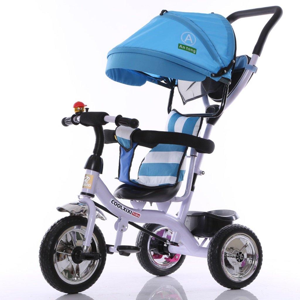 HAIZHEN マウンテンバイク 子供の三輪車カーボンスチールフレームフォームホイール調節可能なプッシュロッドサンシェード日除け抗UV日保護後部ブレーキ自転車1-5歳のベビーベビーカー 新生児 B07DL573C7 青 青