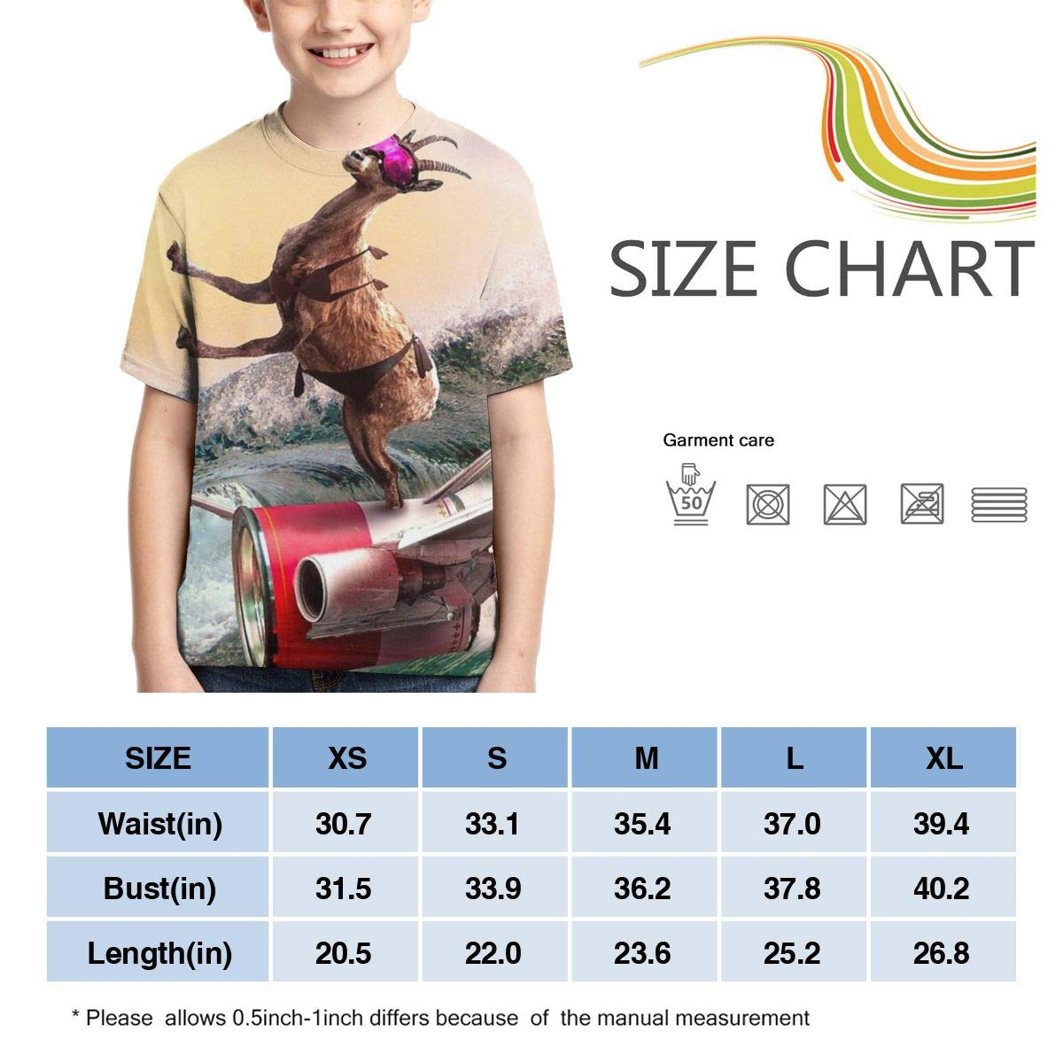 Boys Short Sleeve Funny Goat Surfing Rocket with Goggles 3D Printed T Shirt for Kids Cool Casual Top