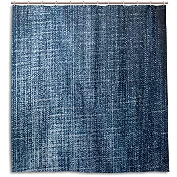 SCDS Blue Denim Fabric Texture Shower Curtain Waterproof Mouldproof Thickening Extra Long 60x72in