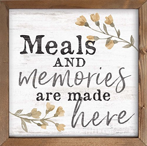 P. GRAHAM DUNN Meals and Memories are Made Here Floral Whitewash 12 x 12 Inch Pine Wood Framed Wall Art Plaque