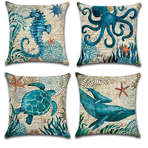 Qingell Set of 4 Ocean Beach Outdoor Throw Pillow Covers Decorative Sea Coastal Theme Decor Cushion Pillowcase 18x18 Blue