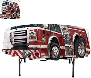 Aishare Store Fire Truck Round Tablecloth Polyester Circular Wrinkle Free Table Cloth, Rescue Department Car, Soft Dinner Table Cover for Buffet Table, Round 54""
