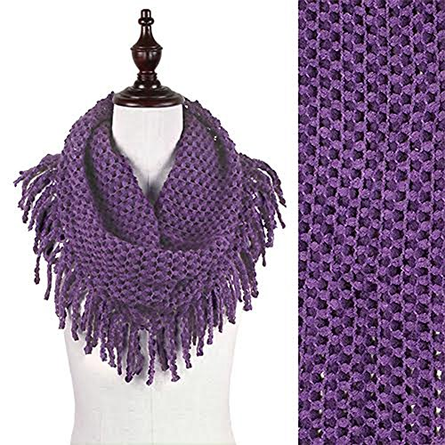 StylesILove Two Tone Womens Winter Warm Mini Tube Infinity Scarf With Fringe (One Size Fits All, Purple)