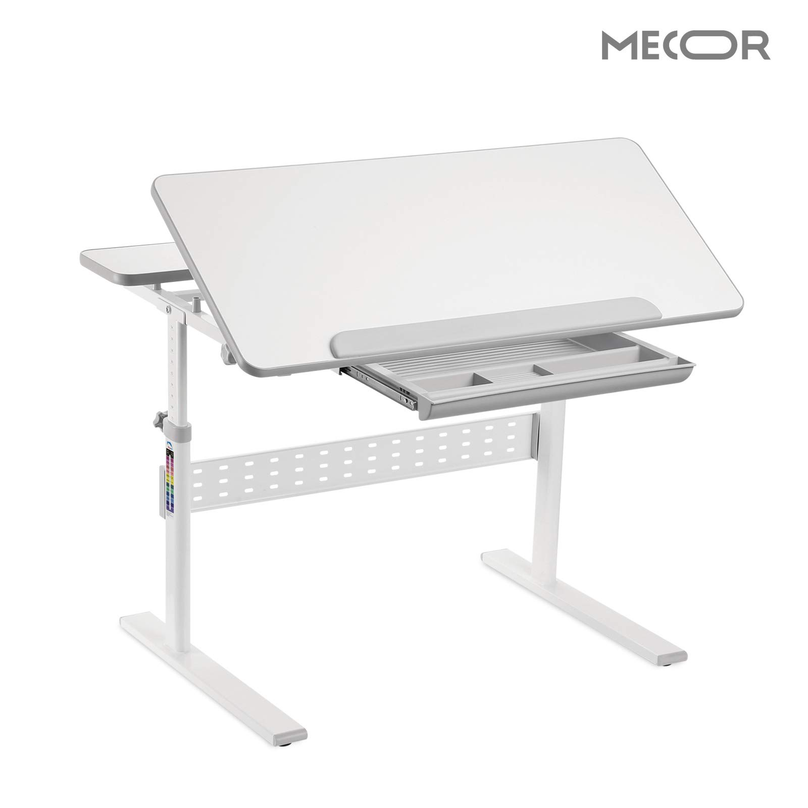 Mecor Kids School Desk,Student School Work Station Height Adjustable,Children Sturdy Table Large Inclined Tabletop w/Sliding Drawer Storage Grey by Mecor