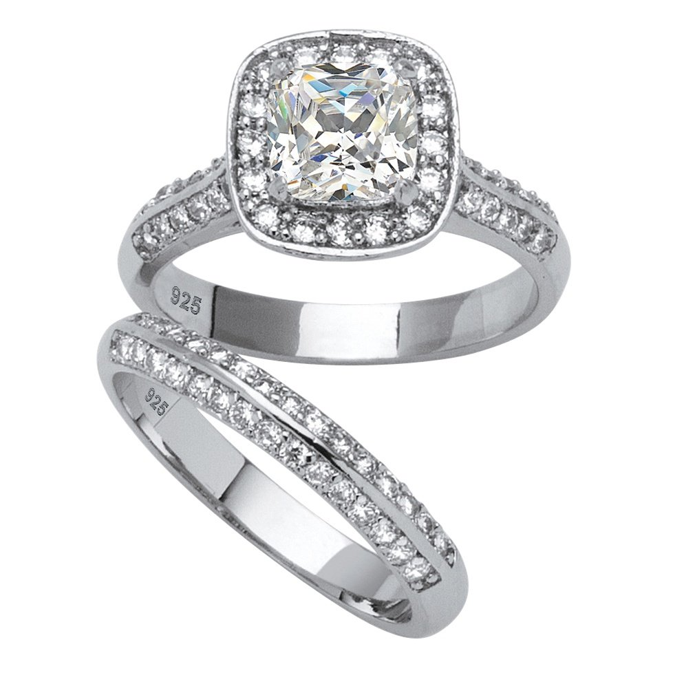 Cushion-Cut White Cubic Zirconia Platinum over .925 Silver 2-Piece Halo Bridal Ring Set Size 7