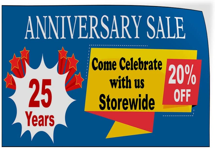 Custom Door Decals Vinyl Stickers Multiple Sizes Store Anniversary Sale Come Celebrate Business Anniversary Sale Outdoor Luggage /& Bumper Stickers for Cars Blue 69X46Inches Set of 2