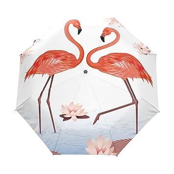 bennigiry rosa flamencos Lotus Custom plegable sol lluvia paraguas resistente al viento resistente al viento paraguas