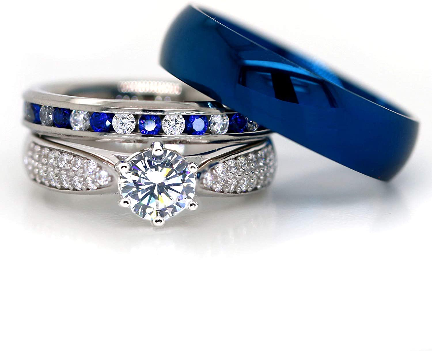 It is a picture of Kingsway Jewelry His and Hers 35 Sterling Silver Blue Saphire Stainless Steel Wedding Rings Set Blue #SP35BLMSBL