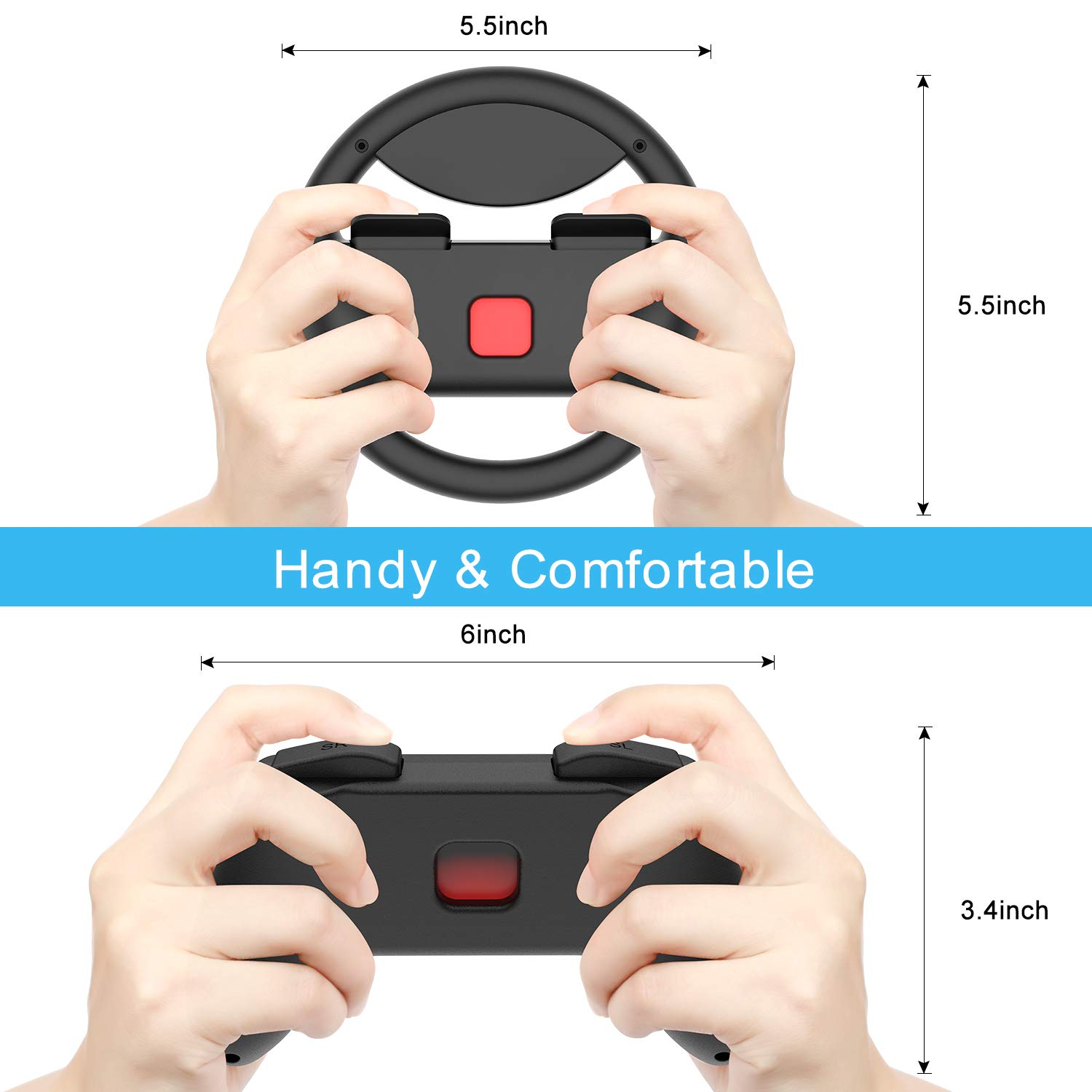 Momen Grip for Nintendo Switch Controller - 2 Pack Racing Steering Wheel Switch Controller Game Grip Handle Kit Fit for Nintendo Switch Joy-Con Controllers (Black)