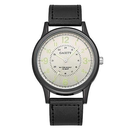 domybest Fashion para hombre PU reloj cuarzo reloj adolescentes Casual relojes de pulsera.