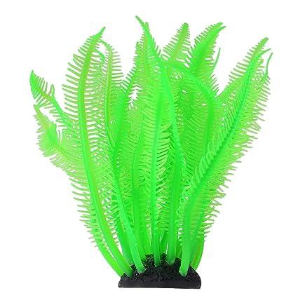 Fdit Coral Silicone Artificial Decoración de Acuario Decoración Coral Artificial para Acuario Peces Tanque(Verde