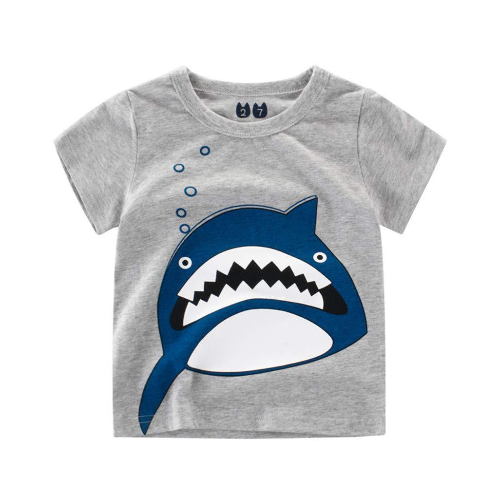 Jchen Little Boys Cartoon Print Tops, Summer Kids Baby Boys Short Sleeve Cartoon Animal Print Tee Tops T-Shirt for 1-6 Yrs (Age:12-18 Months, Gray)