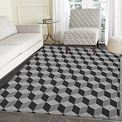 Amazon Com Black And White Area Rug Carpet Monochrome Cube