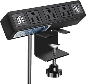 3 AC Outlet Desk Clamp Power Strip, Desk Mount USB Charging Power Station, Removable Desktop Edge Power Center Plugs Output 125V/60HZ/12A/1500W, USB 5V/4A 6.56FT Cable
